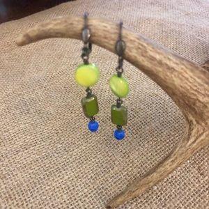 🧺 🍷 Lime Green Blue Glass Bead Dangle Earrings